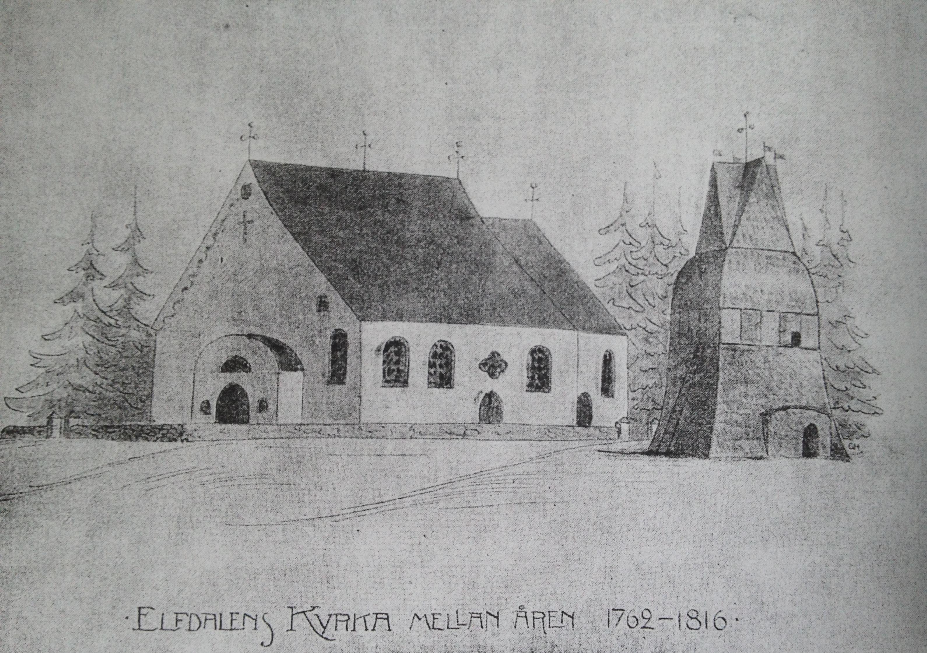 """Tillbyggnaderna 1687-88 bestod huvudsakligen av tillbyggnad i öster för koret. I samband med tillbyggnaden skänkte Karl XI det altarskåp som idag finns i Evertsberg. 1762 flyttades den södra väggen av den ursprungliga kyrkan ut. (I samband med detta fick taket en egendomlig """"brytning"""".) Bild och uppgifter är hämtade från C.W Söderström"""
