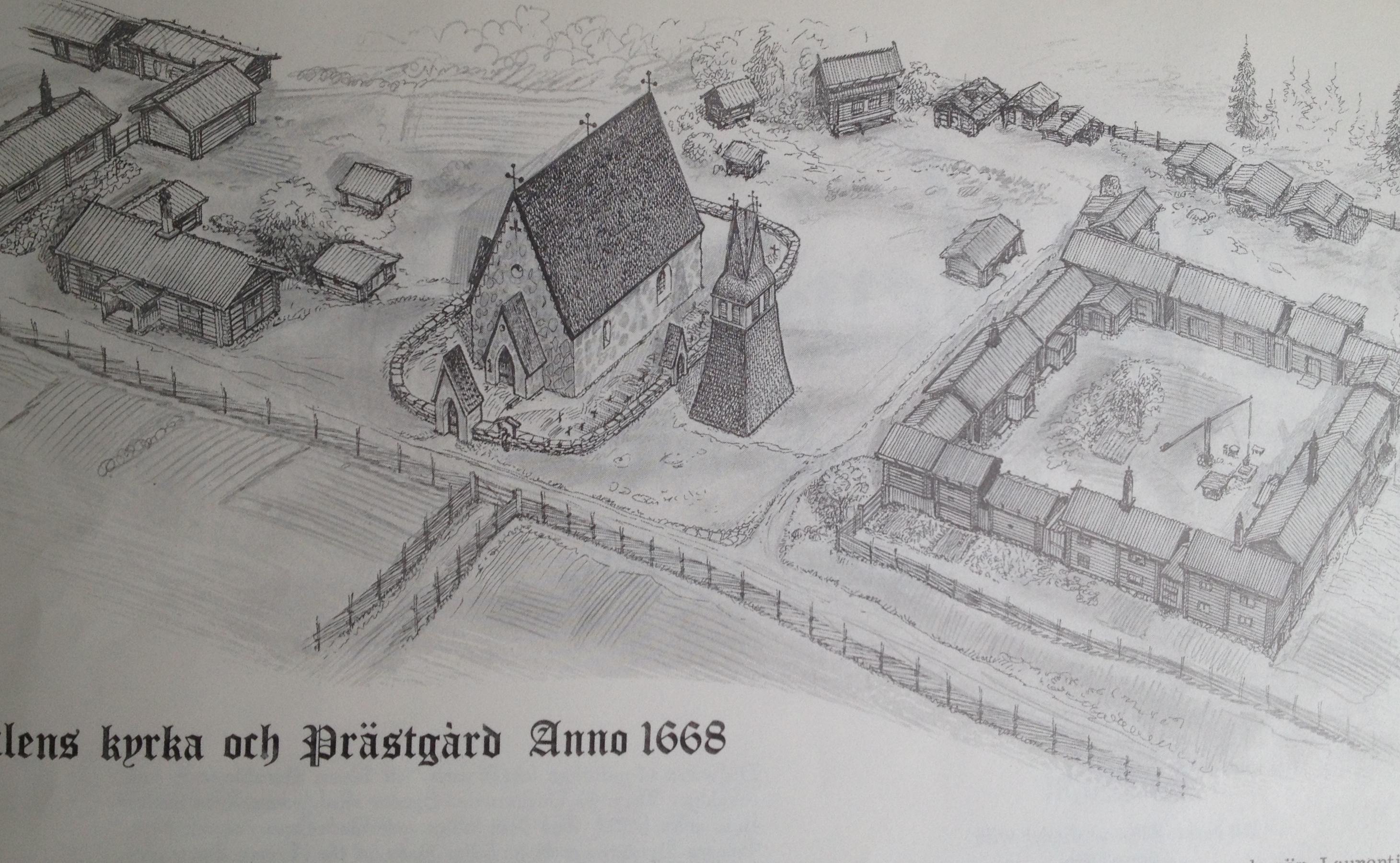 """År 1574 angavs träkyrkan i Älvdalen som förfallen. """"År 1578 började man att bygga den nya kyrkan, nu av sten, eftersom man fått löfte om egen präst om man byggde kyrka och prästgård och därtill lade 'så mycken åker och äng, att en kyrkoherde väl kan få sin bärgning där av...' 1586 invigdes kyrkan och församlingens första kyrkoherde Laurentius Beronius installerades. Med tiden växte prästgården till en välbyggd och präktig anläggning som var mäkta imponerande när Laurentius Petri Elvius (trollprästen) tillträdde. Den kringbyggda gården bestod av en mångfald hus, lider, stall, nattstugor, källare, snickarstuga, portlider, drängstuga, lador, foderhus, torkstugor, råglador, eldhus, vedbodar, härbren, mjölbodar, fiskebod, badstuga, smedja, eldhus osv i en omfattning som förvånar. Till prästgården fanns stora ägor såväl inom som utom socknen, jaktmarker, fiskevatten osv."""" Ur """"Älvdalen-Blåkulla tur och retur"""" av Hjalmar Larsson"""