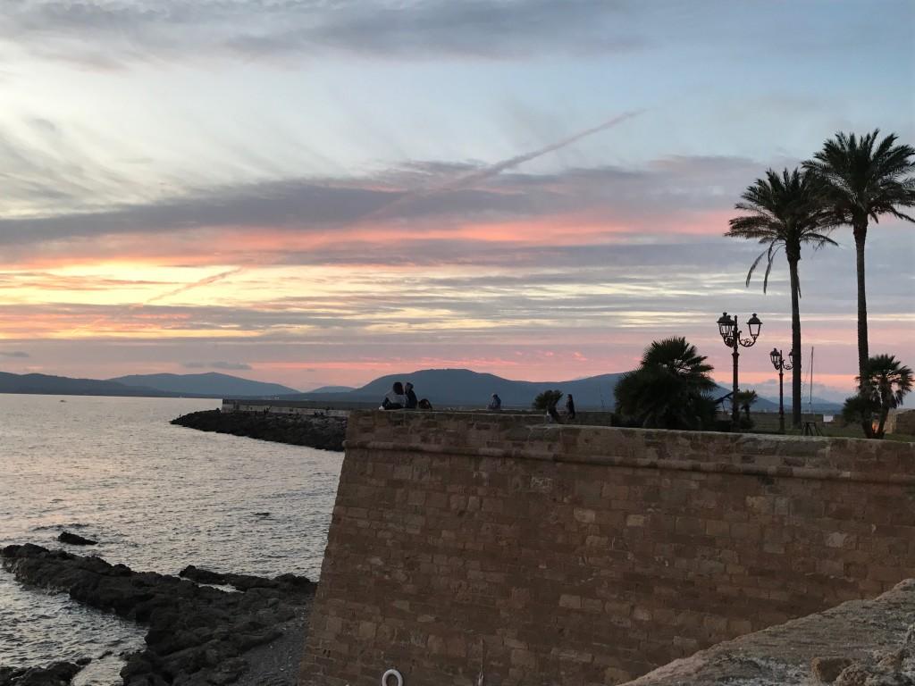 Solnedgång från murarna i Alghero