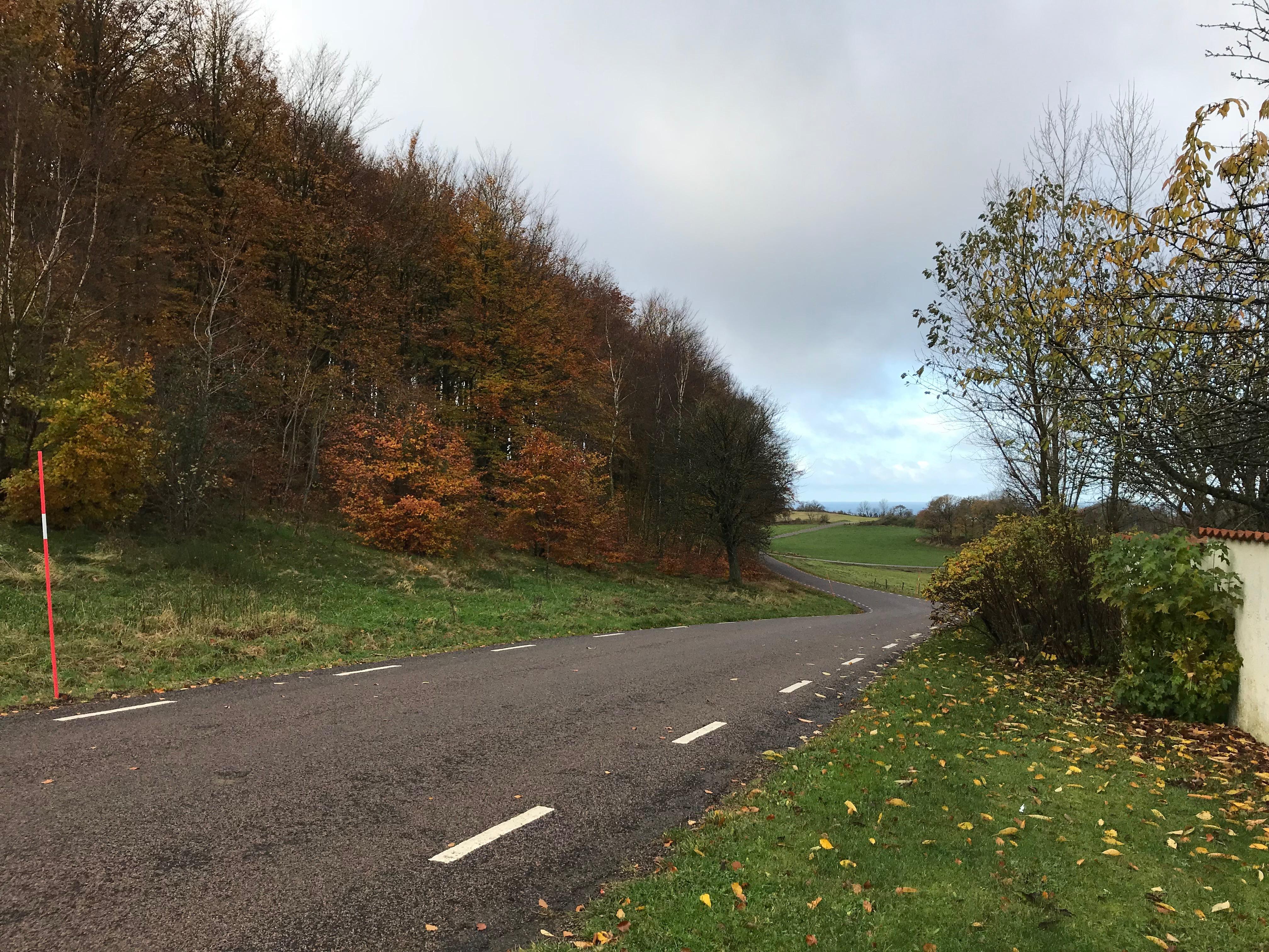 I november är bilarna få - vilken njutning med slingrande - nästan bilfria - asfaltvägar.